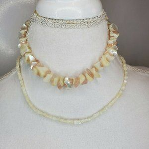 Puka Shell Pink Off White Coral Necklaces